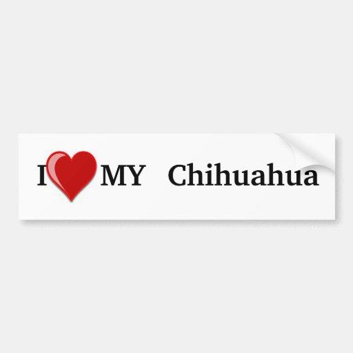 I Love (Heart) My Chihuahua Dog Bumper Sticker Car Bumper Sticker