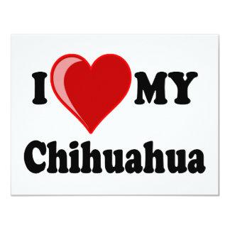"""I Love (Heart) My Chihuahua Dog Invitation 4.25"""" X 5.5"""" Invitation Card"""