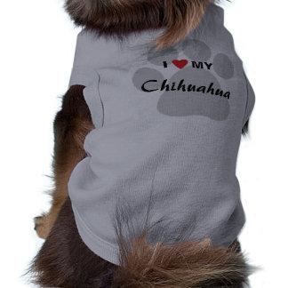 I Love (Heart) My Chihuahua Pawprint Doggie Tee Shirt