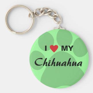 I Love (Heart) My Chihuahua Pawprint Keychains