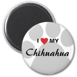 I Love (Heart) My Chihuahua Pawprint Magnets