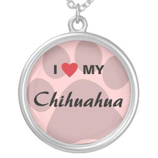 I Love (Heart) My Chihuahua Pawprint Custom Jewelry