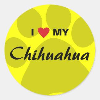 I Love (Heart) My Chihuahua Pawprint Round Stickers