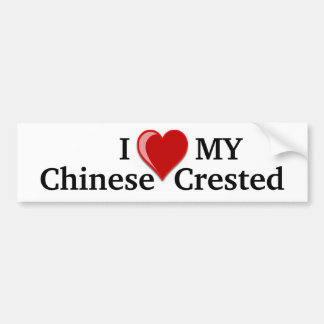 I Love (Heart) My Chinese Crested Dog Bumper Sticker