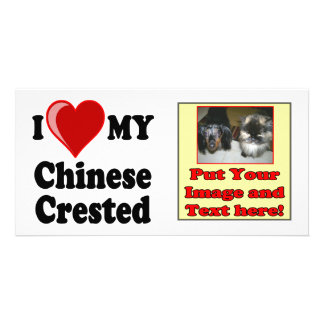 I Love (Heart) My Chinese Crested Dog Card