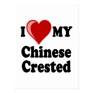 I Love (Heart) My Chinese Crested Dog Postcard
