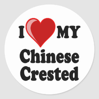 I Love (Heart) My Chinese Crested Dog Round Stickers