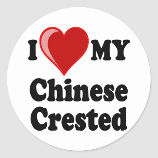 I Love (Heart) My Chinese Crested Dog Sticker