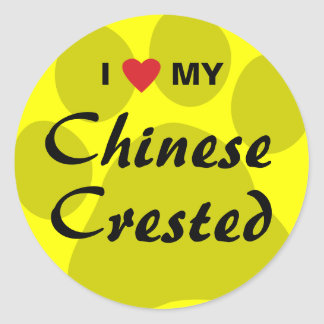 I Love (Heart) My Chinese Crested Stickers