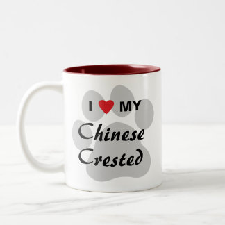 I Love (Heart) My Chinese Crested Two-Tone Coffee Mug