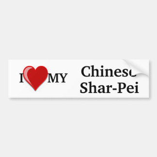 I Love (Heart) My Chinese Shar-Pei Dog Bumper Sticker