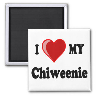 I Love (Heart) My Chiweenie Dog 2 Inch Square Magnet