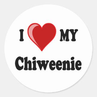 I Love (Heart) My Chiweenie Dog Classic Round Sticker