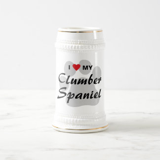 I Love (Heart) My Clumber Spaniel Beer Stein