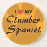 I Love (Heart) My Clumber Spaniel Sandstone Coaster
