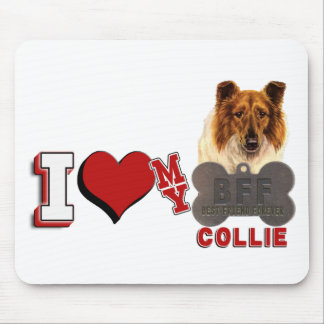 I LOVE HEART MY COLLIE DOGTAG BFF MOUSE PAD