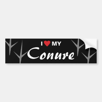 I Love (Heart) My Conure Bird Tracks Design Bumper Sticker