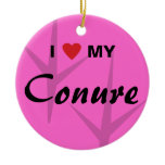 I Love (Heart) My Conure Bird Tracks Design Ceramic Ornament