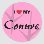 I Love (Heart) My Conure Bird Tracks Design Classic Round Sticker