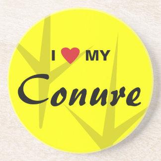 I Love (Heart) My Conure Bird Tracks Design Drink Coaster