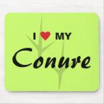 I Love (Heart) My Conure Bird Tracks Design Mouse Pads