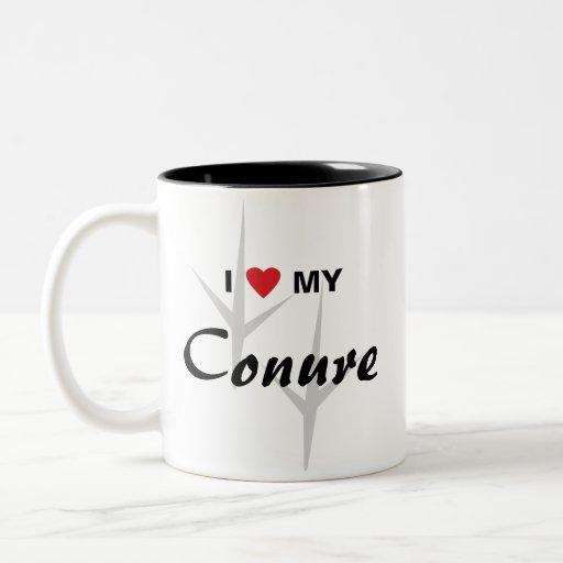 I Love (Heart) My Conure Bird Tracks Design Mug