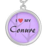 I Love (Heart) My Conure Bird Tracks Design Necklace