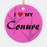 I Love (Heart) My Conure Bird Tracks Design Ornament
