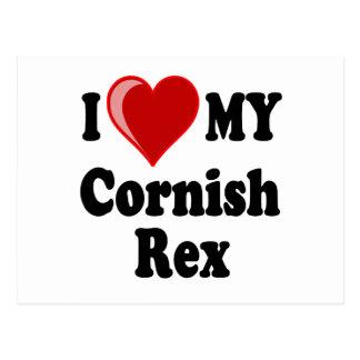 I Love (Heart) My Cornish Rex Cat Postcard