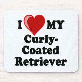 I Love (Heart) My Curly-Coated Retriever Dog Mouse Pad