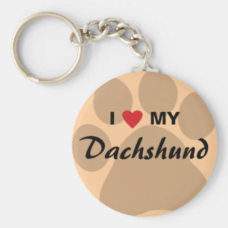 I Love (Heart) My Dachshund Pawprint Basic Round Button Keychain