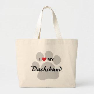 I Love (Heart) My Dachshund Pawprint Large Tote Bag