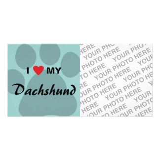 I Love (Heart) My Dachshund Pawprint Photo Greeting Card