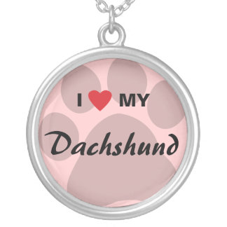 I Love (Heart) My Dachshund Pawprint Round Pendant Necklace
