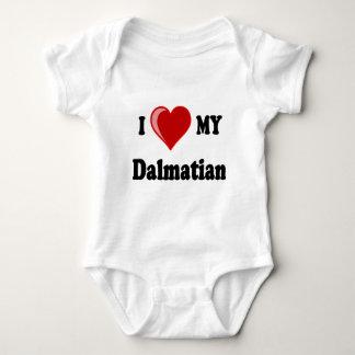 I Love (Heart) My Dalmatian Dog Baby Bodysuit