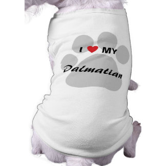 I Love (Heart) My Dalmatian Pawprint Doggie Shirt
