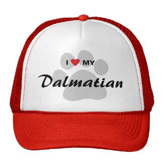 I Love (Heart) My Dalmatian Pawprint Trucker Hat