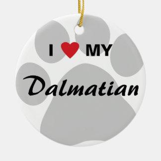 I Love (Heart) My Dalmatian Pawprint Christmas Tree Ornaments