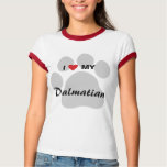 I Love (Heart) My Dalmatian Pawprint T-Shirt