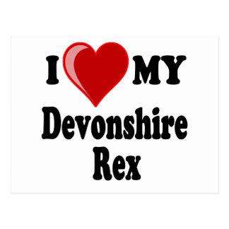 I Love (Heart) My Devonshire Rex Cat Postcard