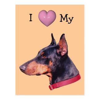I Love Heart My Doberman Dog Postcard