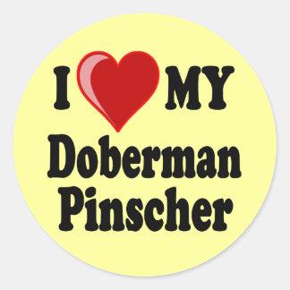 I Love (Heart) My Doberman Pinscher Dog Classic Round Sticker