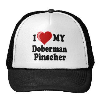 I Love (Heart) My Doberman Pinscher Dog Mesh Hats