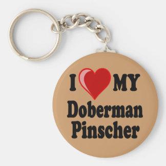 I Love (Heart) My Doberman Pinscher Dog Keychain