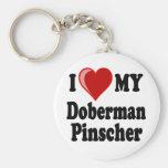 I Love (Heart) My Doberman Pinscher Dog Basic Round Button Keychain
