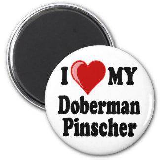 I Love (Heart) My Doberman Pinscher Dog 2 Inch Round Magnet