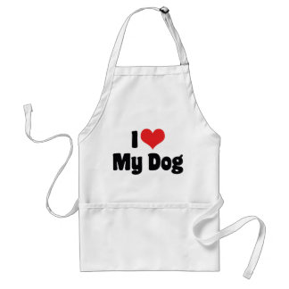 I Love Heart My Dog - Dog Lover Adult Apron