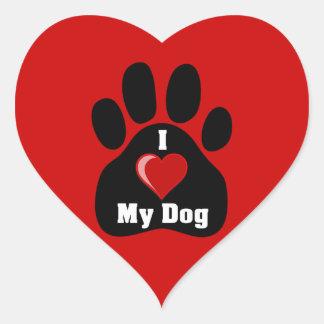 I Love Heart My Dog paw print Heart Sticker