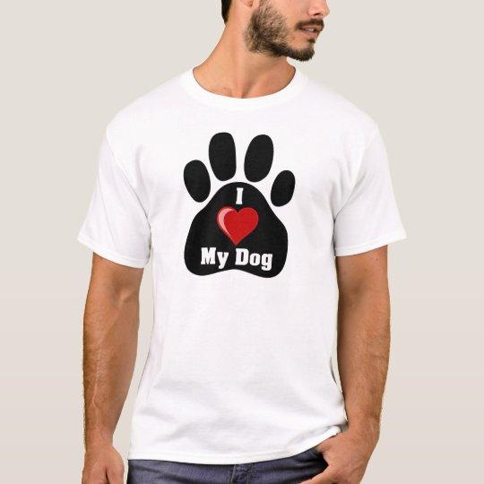 I Love (Heart) My Dog paw print T-Shirt