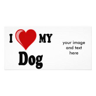 I Love (Heart) My Dog Photo Card Template
